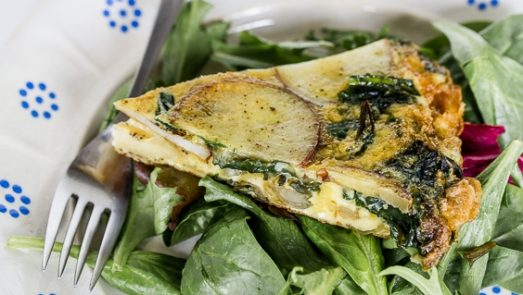 potato and ramps omelet